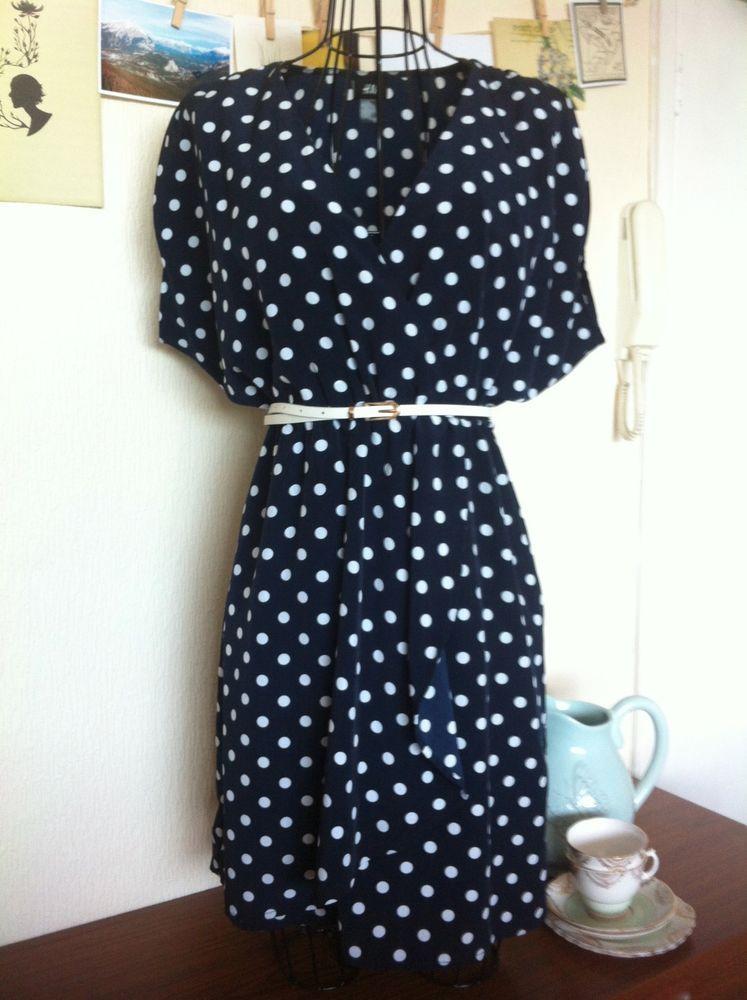 H M Polka Dot Vintage retro navy dress UK10  a42d9b224b6f0