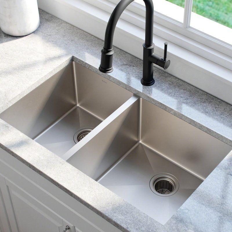 33 L X 19 W Double Basin Undermount Kitchen Sink With Drain Assembly Best Kitchen Sinks Undermount Kitchen Sinks Kitchen Styling