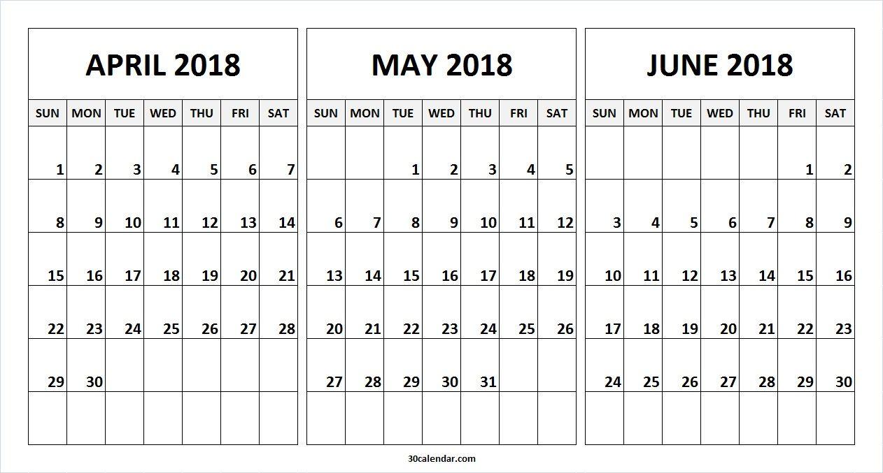 month of april may june 2018 calendar