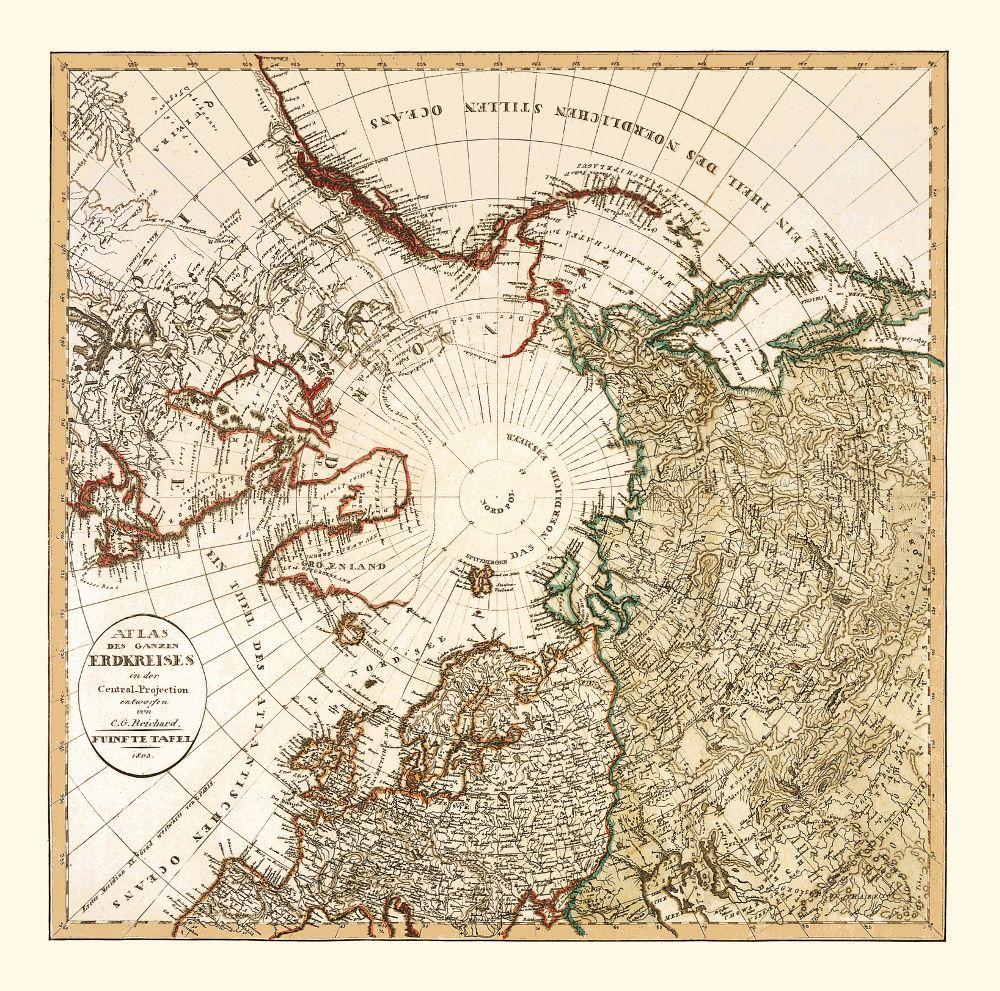 Historical Wall Map Of The Arctic Region Arctic Arctique - Historical wall maps