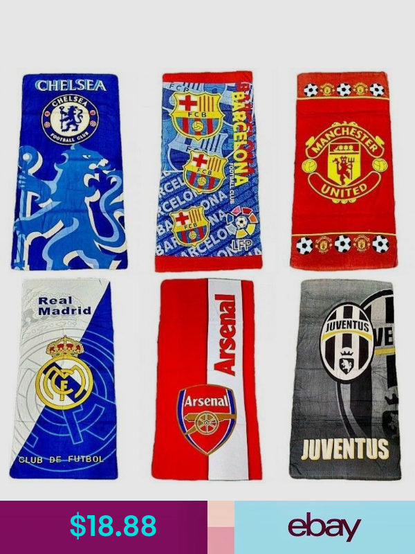 Beach Towels Sports Mem Cards Fan Shop Swim Towel Soccer Club Real Madrid Manchester United