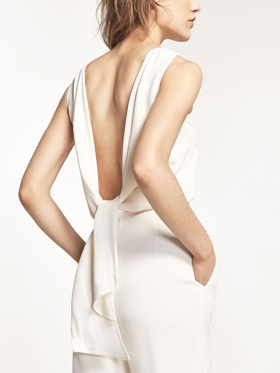 combinaison blanche n ud pour femmes robes et. Black Bedroom Furniture Sets. Home Design Ideas