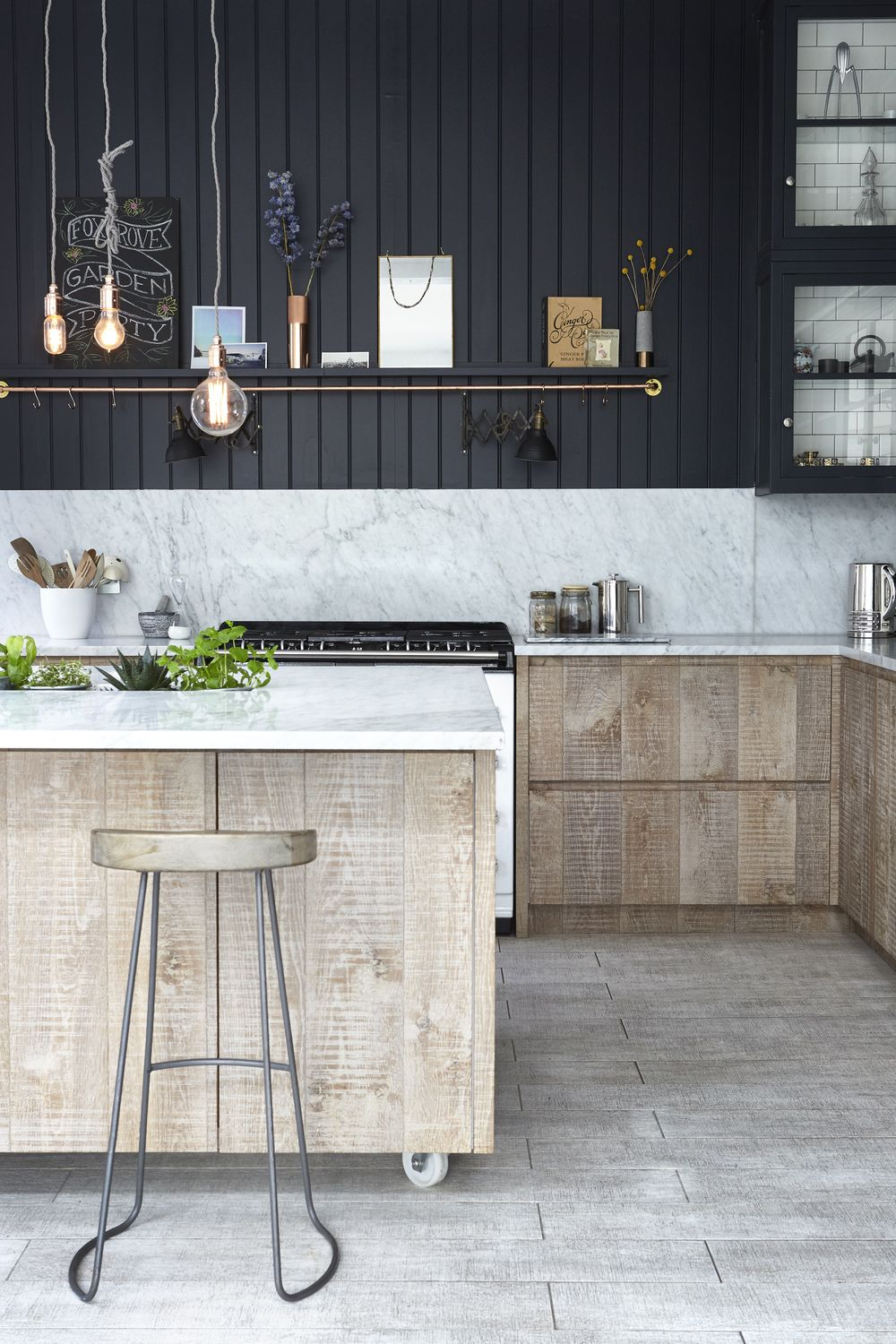 Industrial Kitchen Floor Rustic Industrial Kitchen Panelled Marble Work Surface Metro