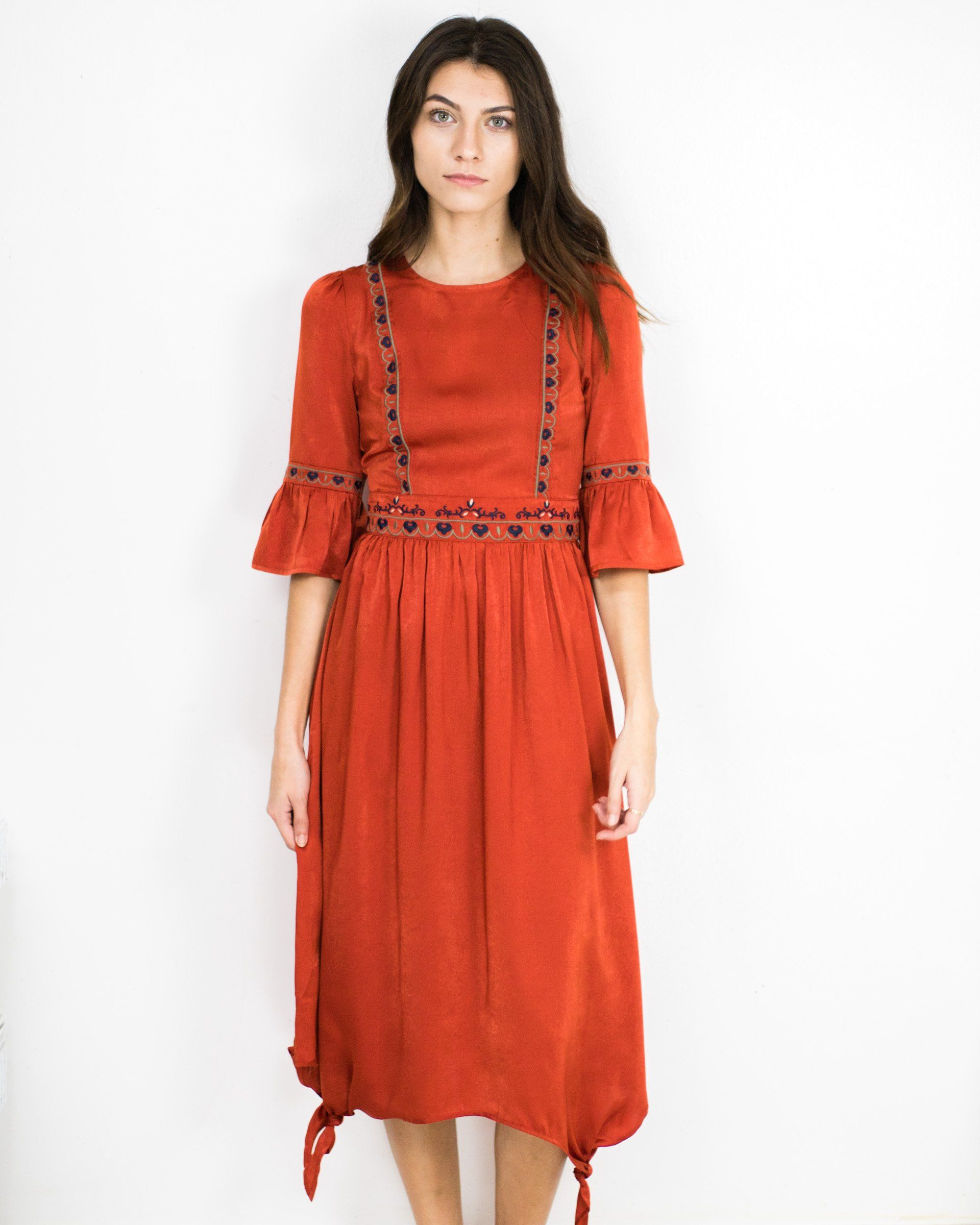 Embroidered bell sleeve maxi dress products
