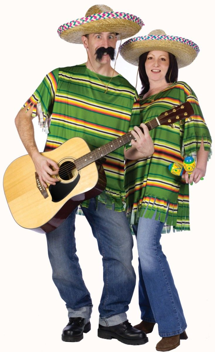couples costume mexican serape hat costume adult standard set of - Mexican Themed Halloween Costumes