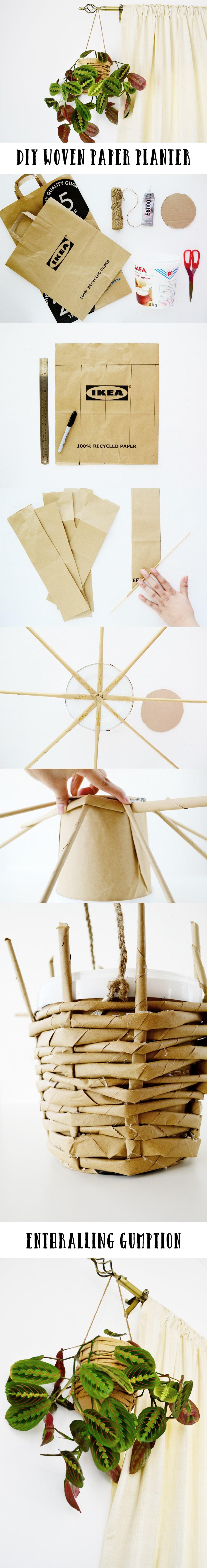 DIY Woven Paper Planter