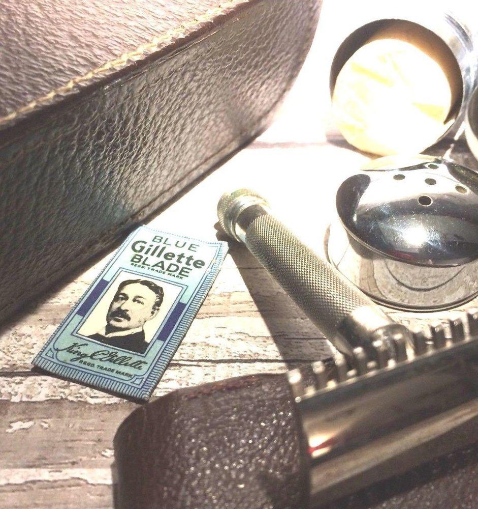 Vintage Gillette Gents Grooming Shaving Kit Safety Razor