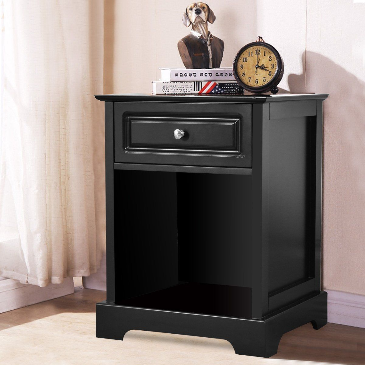Giantex Night Stand End Table w/Drawer Open Shelf Home
