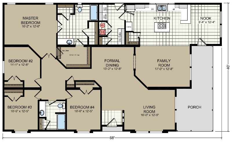 Floor Plan Of Champion Homes Mobile Manufactured Home Via Mhvillage Com Mobile Home Floor Plans Floor Plans Manufactured Homes Floor Plans