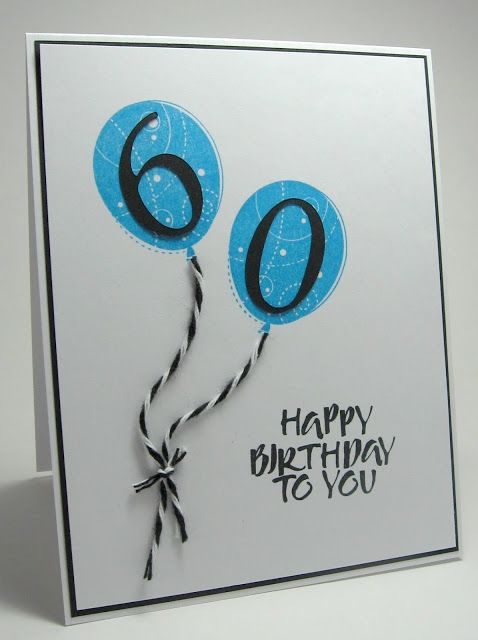 Stamping Up North Less Is More Up In The Air Challenge 60th Birthday Cards Birthday Cards Cards Handmade