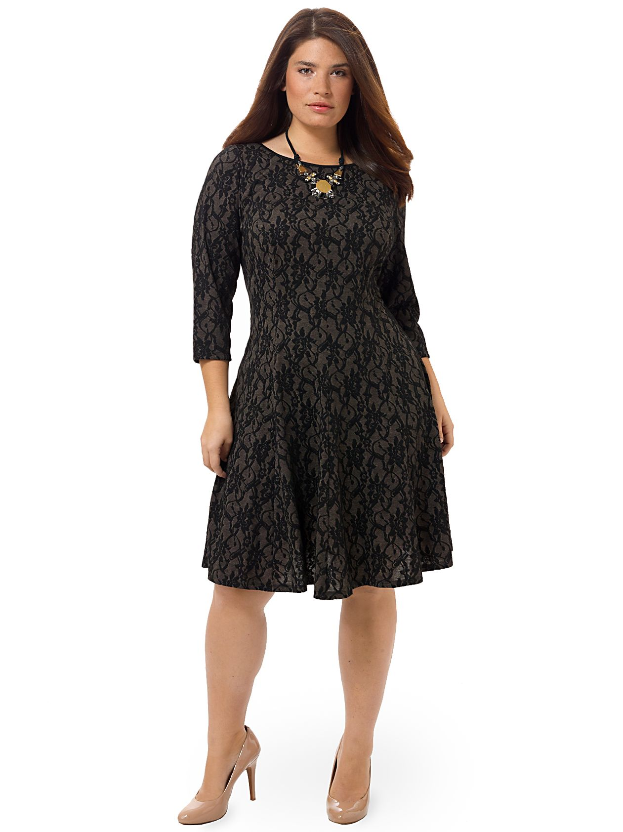 London times lace print dress