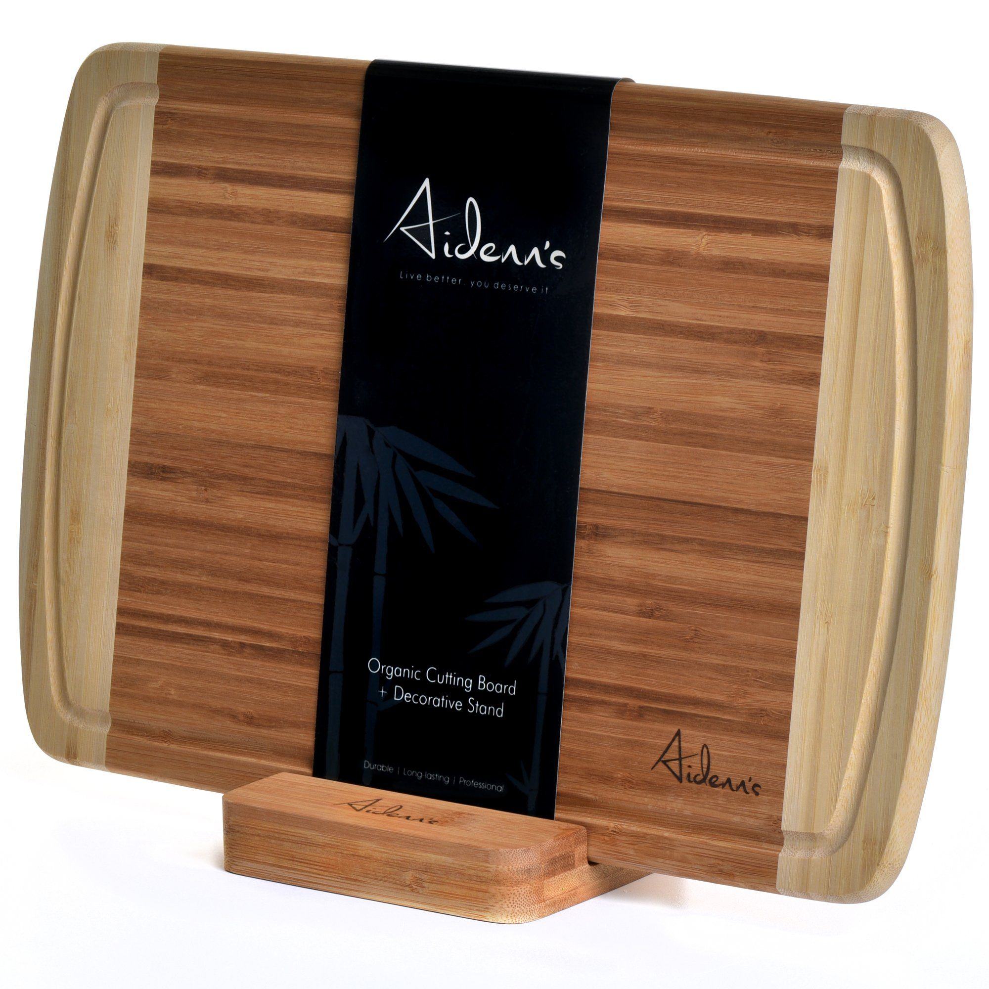Bamboo Cutting Board and Stand Set - Natural Wood Cutting Board ...