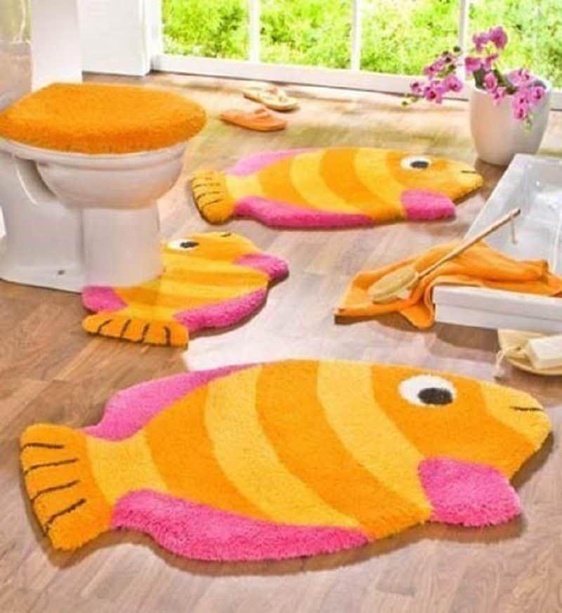 5 Piece Bathroom Rug Sets Kids Colorful Orange Pink Fish Bath Rug Sets :  Inspiringly Awesome