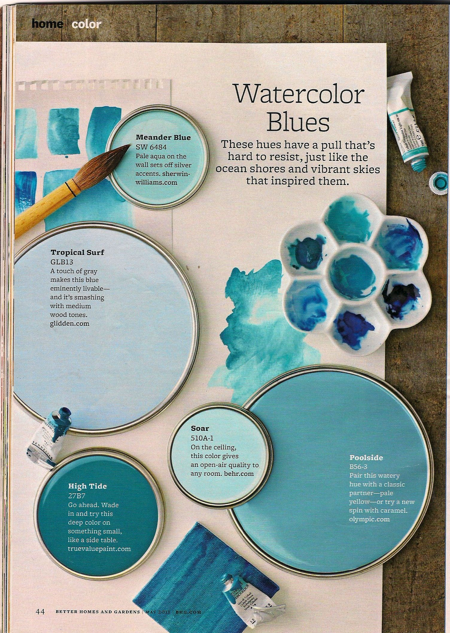 Better Homes And Gardens Watercolor Blues Top Paint Colors Blue Light
