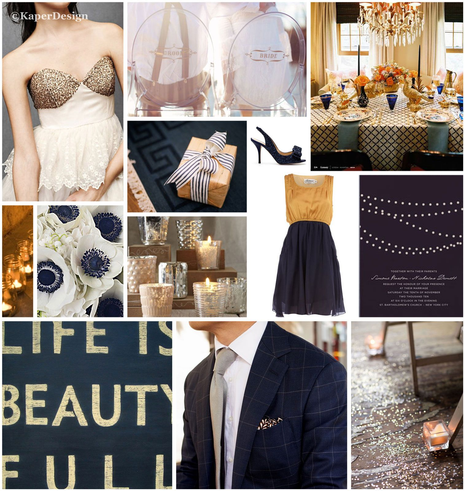 Navy and Gold wedding inspiration board blue