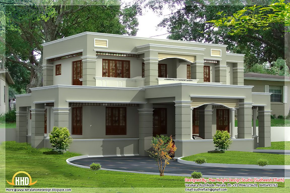 Small modern homes 2950 square feet flat roof house for Kerala home design flat roof elevation