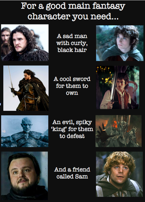 For A Good Main Fantasy Character You Need Game Of Thrones Lord Of The Rings Lotr Got Memes Hobbit Memes