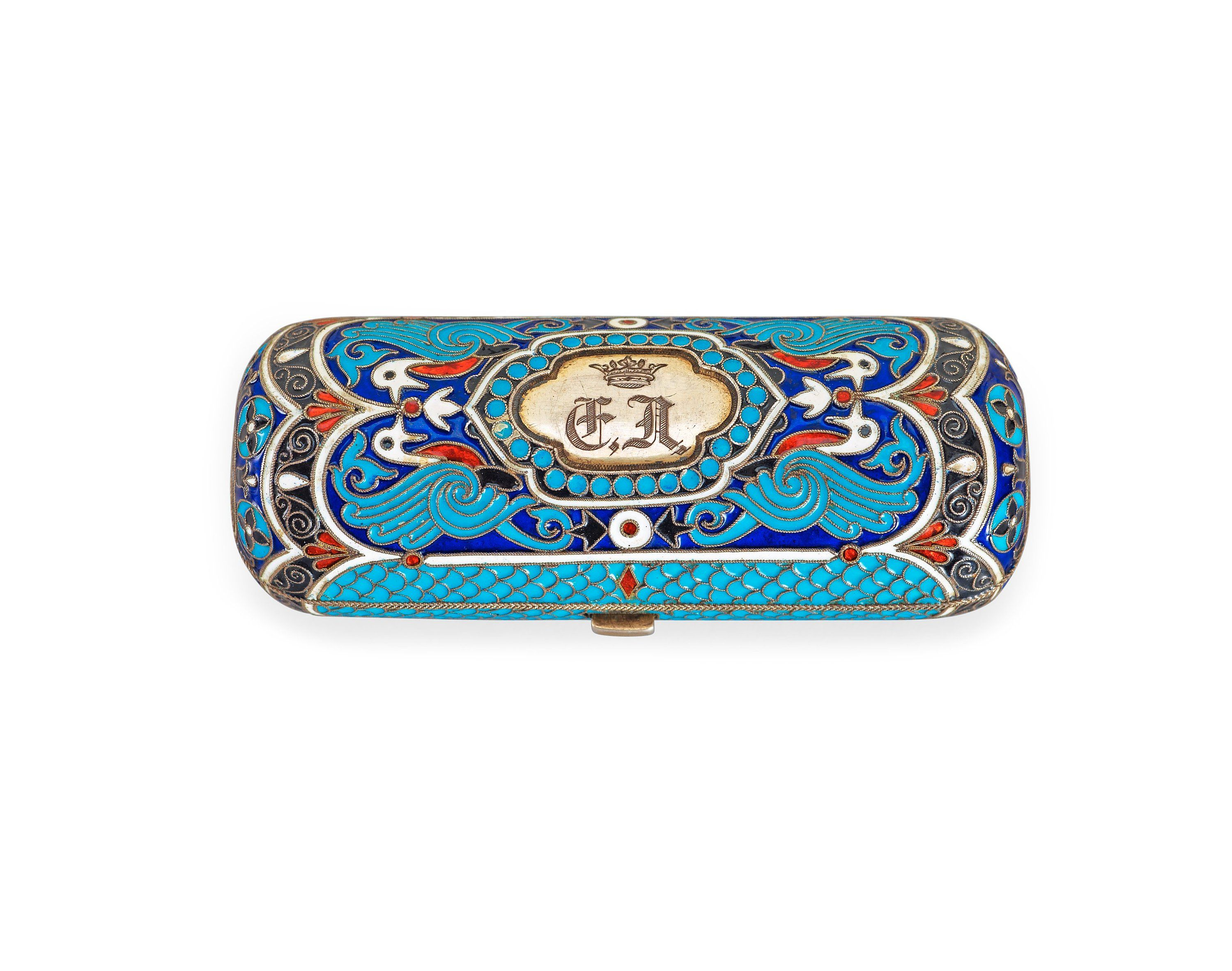 A Russian 19th century silver-gilt and enamel cigarette-case, makers mark of Ivan Chlebnikov, Moscow.