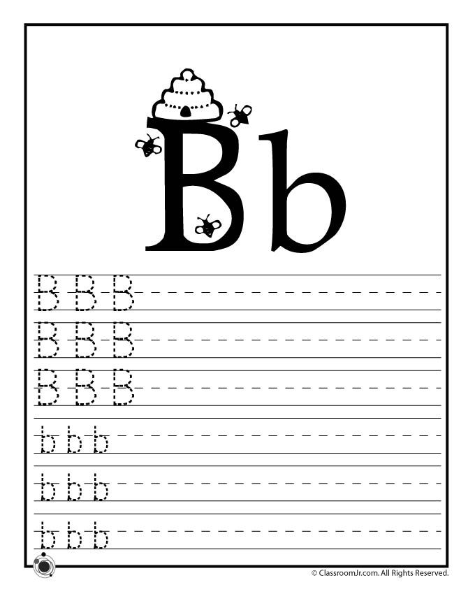 learning abc s worksheets learn letter b classroom jr abc 39 s 123 39 s other basics. Black Bedroom Furniture Sets. Home Design Ideas
