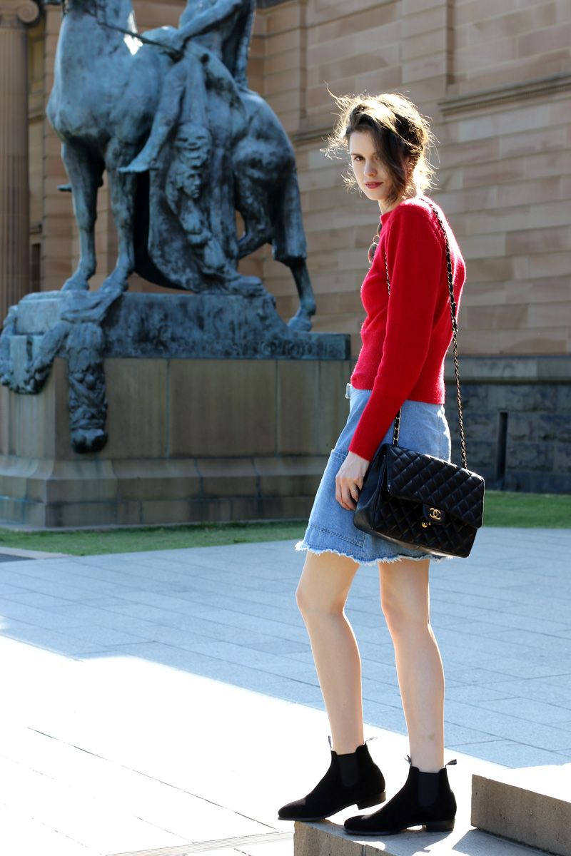 b46e17fce84 Chloe Hill Wearing Lemair x Uniqlo fluffy jumper, karen walker denim ...