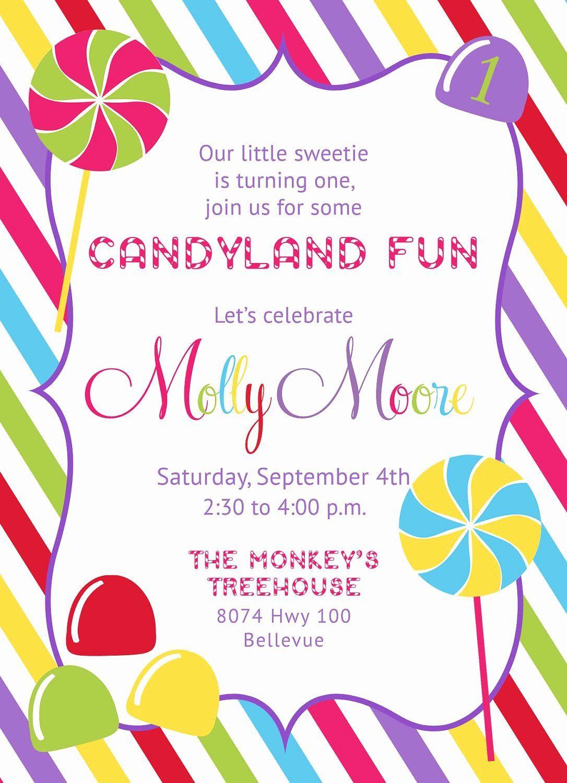 Free Printable Candyland Invitations Unique Candyland Candy Shop Invitation Printable Candyland Invitations Party Invite Template Rainbow Invitations