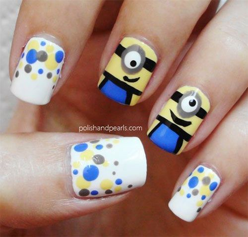 I am bringing before you minions nail art ideas, designs & stickers of of  the movie Despicable me - Minion Nails With Polka Dots!!!! Nails Pinterest Minion