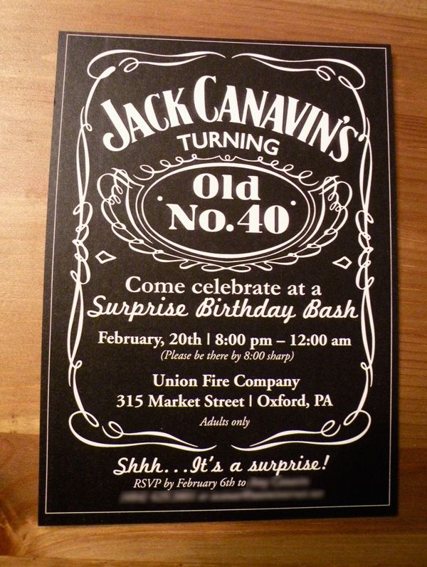 jack daniel's inspired 40th birthday party | 40 birthday, Birthday invitations