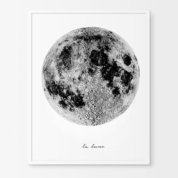 la lune moon poster affiche scandinave vintage luna print la luna moon art moon print. Black Bedroom Furniture Sets. Home Design Ideas