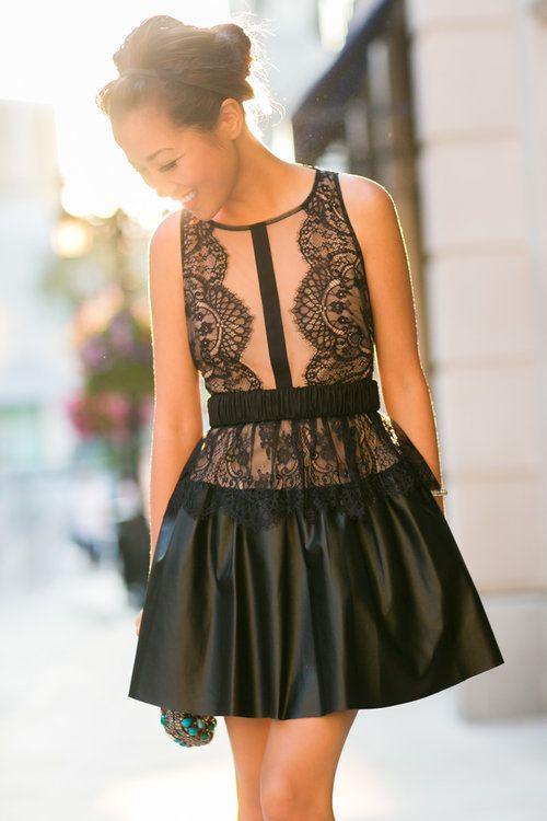 30681efeb47 BCBG Maz Azria Layton leather and lace dress