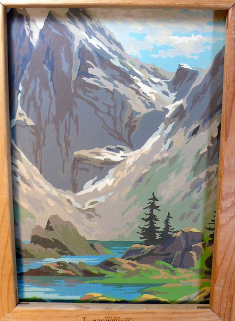 2 Midcentury Paint By Number Large Pictures Landscape Snow Mountain River Trees Clouds So 50s Painting Vintage Painting Mountain Paintings