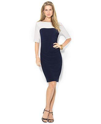 Lauren Ralph Lauren Plus Size Three-Quarter-Sleeve Colorblocked Dress - Lauren Ralph Lauren - Plus Sizes - Macy's