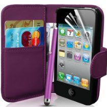 Supergets® Apple iPhone 4 and 4S Purple Wallet Case Cover, Screen Protector, Touch Screen Stylus And Polishing Cloth
