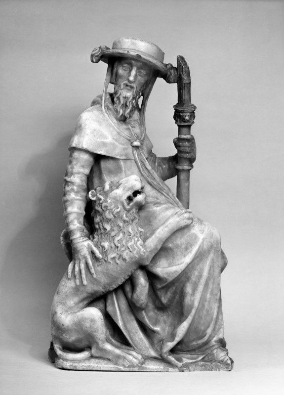 Saint Jerome ca. 1520 attr. Bartolome ordonez (Spanish after 1480-1520) and/or said workshop  quality of mane, beard and folds in sleeve
