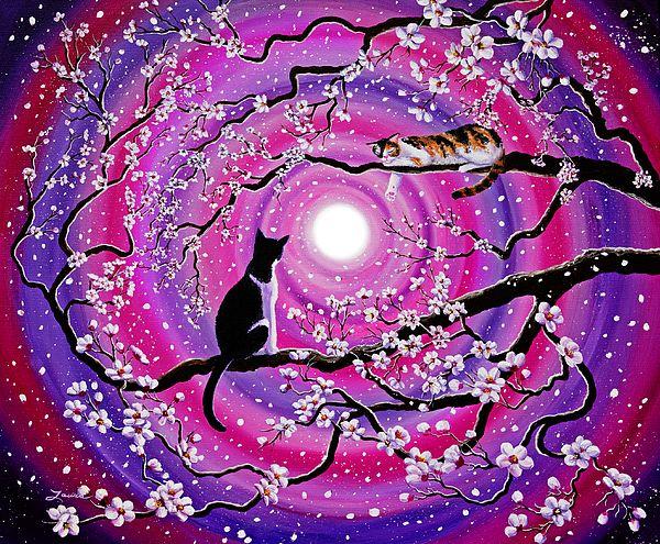 Calico And Tuxedo Cats In Swirling Sakura By Laura Iverson Sakura Painting Sakura Art Cat Painting