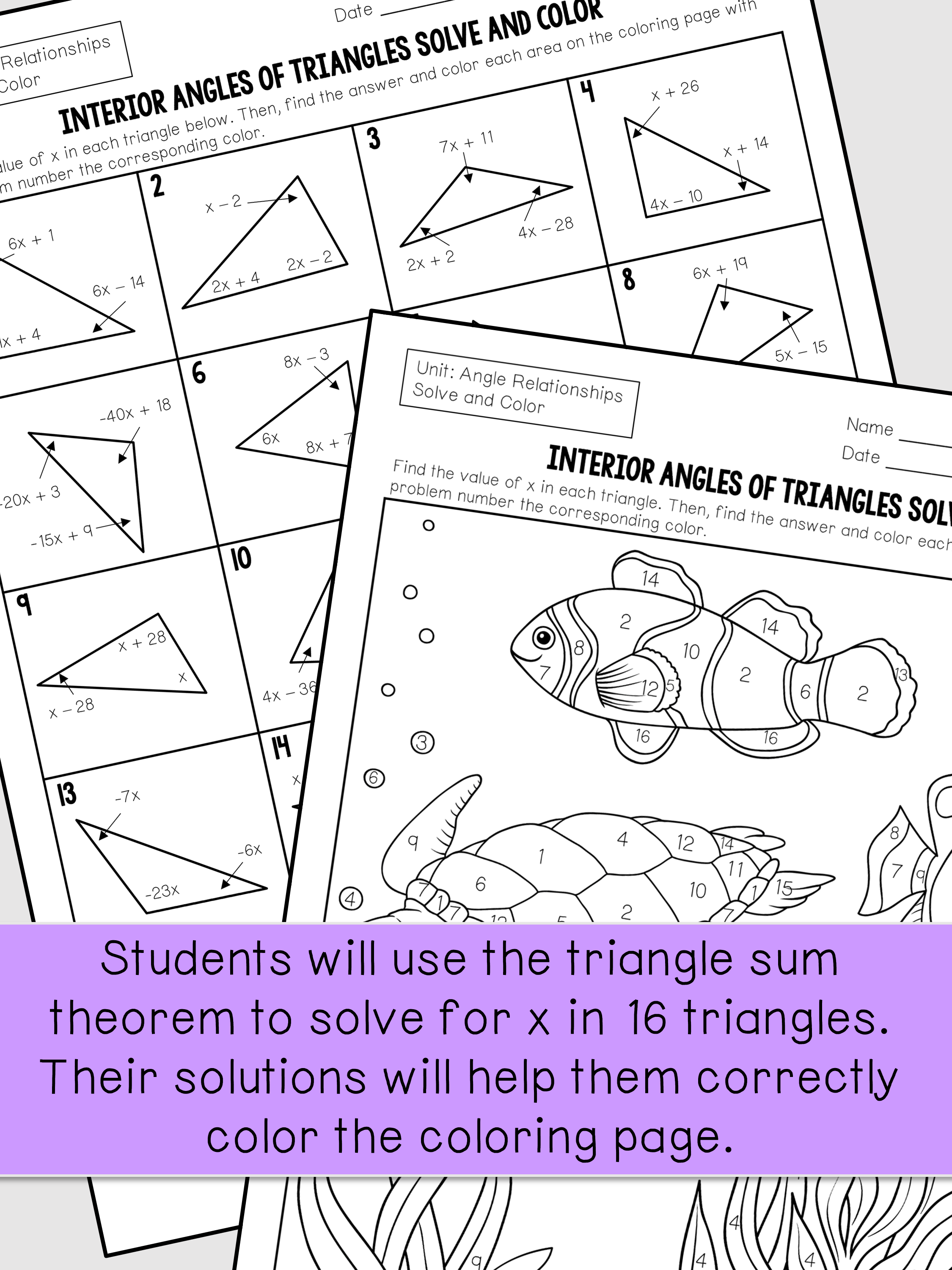 Interior Angles of Triangles 8th Grade Interior design