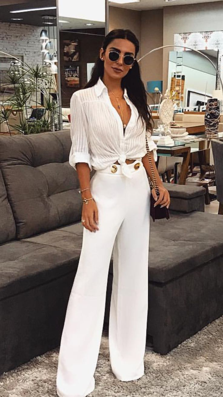 women's white top with white flare pants women's fashion