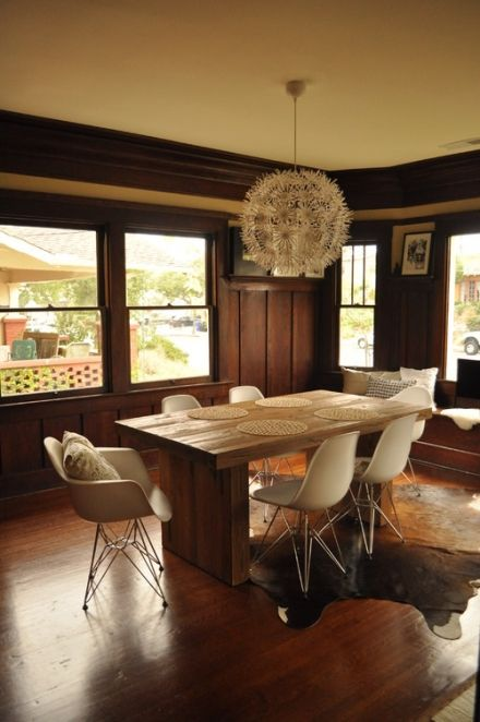 Mid Century Modern Dining Room, Craftsman Lighting Dining Room Table And Chairs Set