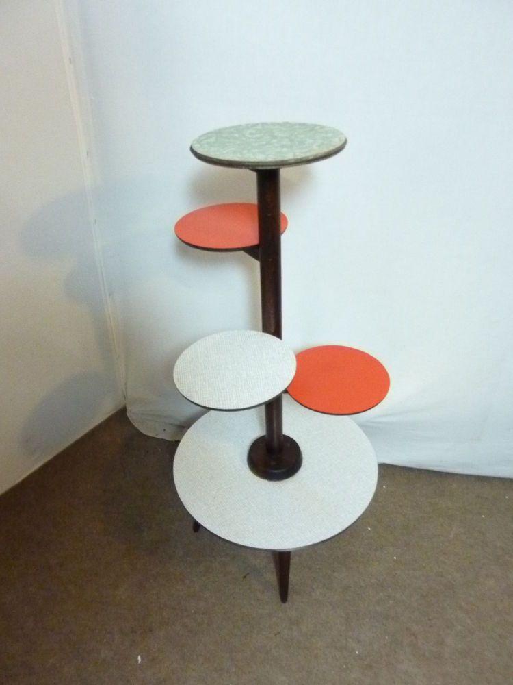 Table Porte Plantes Sellette, FORMICA Vintage Années 50 Design scandinave loft