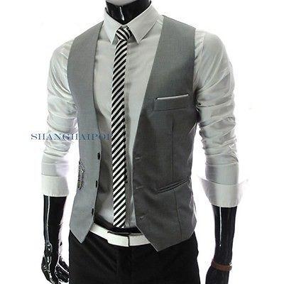 Men-Formal-Casual-Waistcoat-Slim-Top-Cotton-Vest-Gilet-Button-Vintage-White-Gray