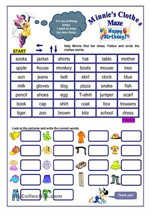Part 1 - follow the path and circle items of clothing until you reach the finish linePart 2 - look at the pictures and write the correct words - ESL worksheets
