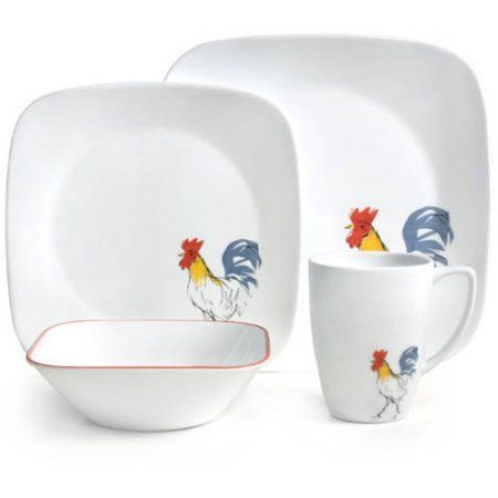 Corelle 32-Piece Squares Country Dawn Dinnerware Set - Walmart.com $100  sc 1 st  Pinterest : 32 piece dinnerware set walmart - Pezcame.Com