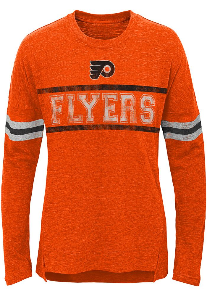 45568562e Philadelphia Flyers Girls Orange Pacesetter Long Sleeve T-shirt ...