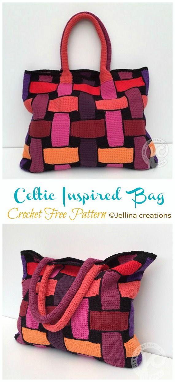 Celtic Inspired Bag Tunisian Crochet Free Pattern #tunisiancrochet