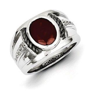 Men's Oval Cut Garnet Diamond Two-Tone Ring In Sterling ...