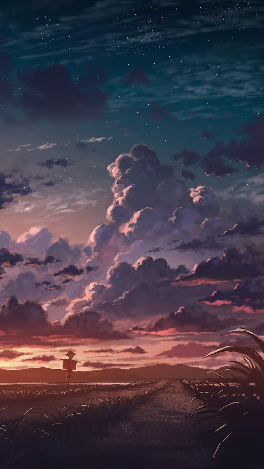 Cloudy Sunset Anime Scenery Wallpaper Scenery Wallpaper Digital Painting