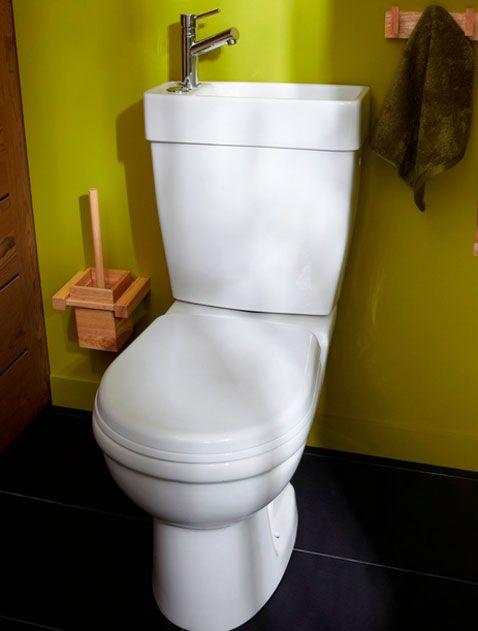 Deco Wc Peinture Vert Anis Avec Lave Main Integre A Cuvette Decoration Toilettes Deco Wc Deco Carrelage
