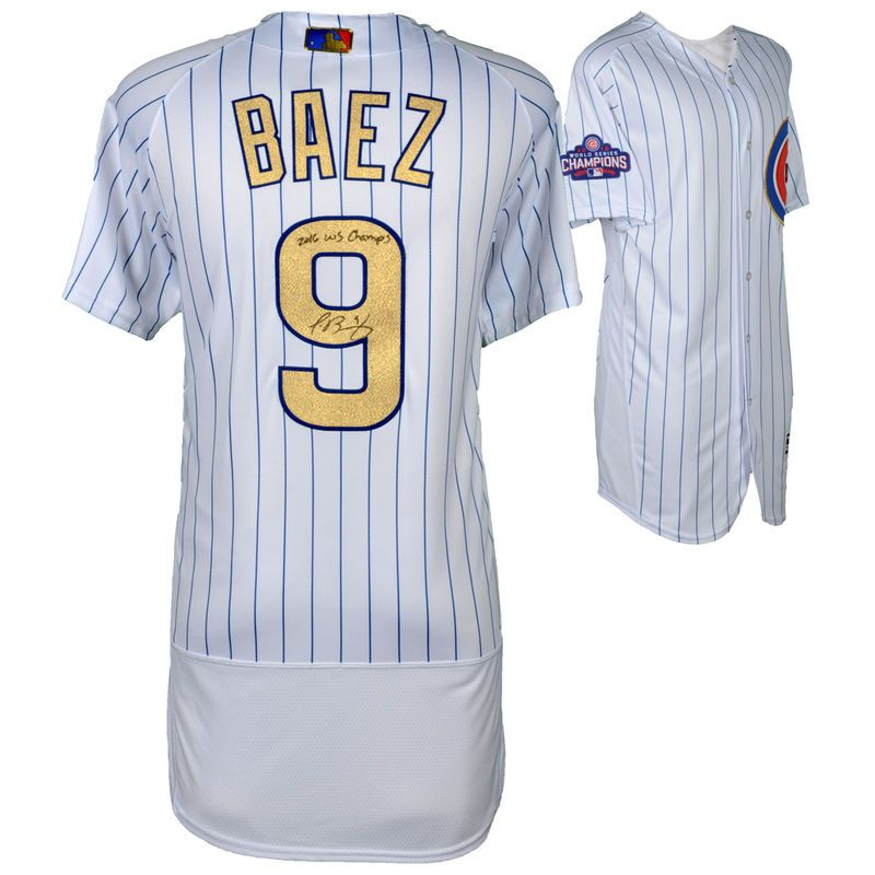 check out 2b46a 5416f Javier Baez Chicago Cubs Autographed Majestic White World ...