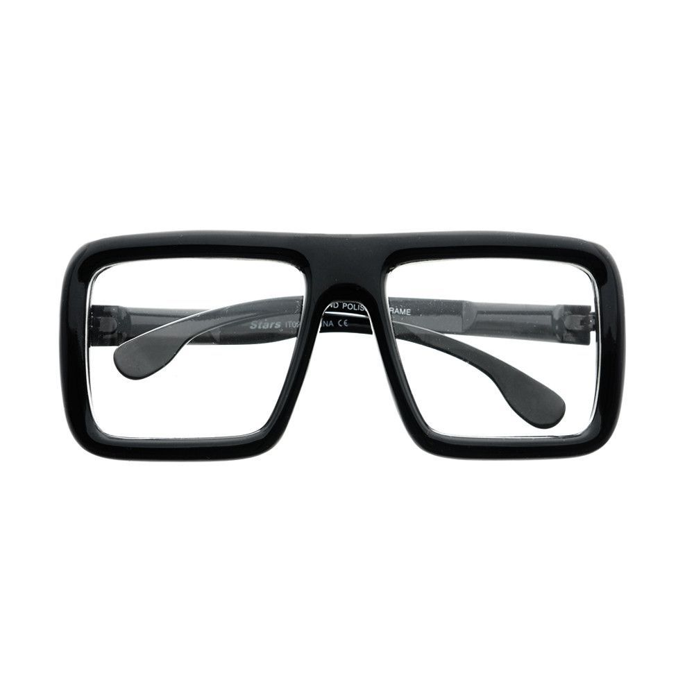 Thick Framed Clear Lens Square Flat Top Glasses Frames FT24 | Clear ...