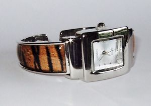 "New Geneva ""Tiger Animal Print "" Bangle Cuff Watch 