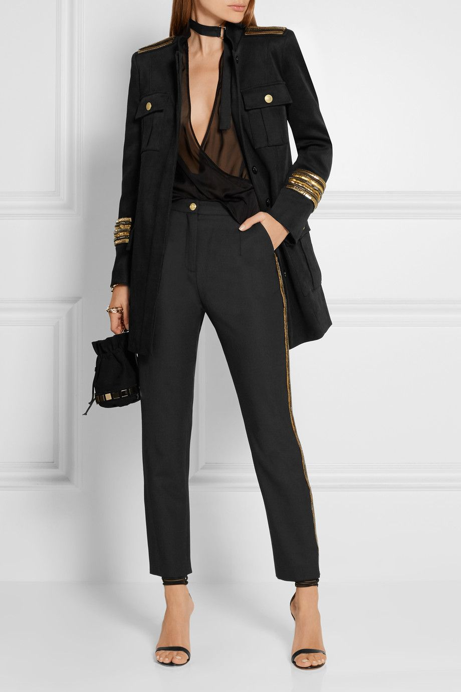 Pierre Balmain - Chain-embellished stretch-twill jacket